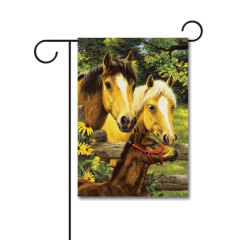 Horse Family 110g Knitted Polyester Double Sided Garden Flag Without Flagpole