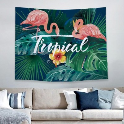 China Supplier Rectangle Custom Size Flamingo Printing Tapestry