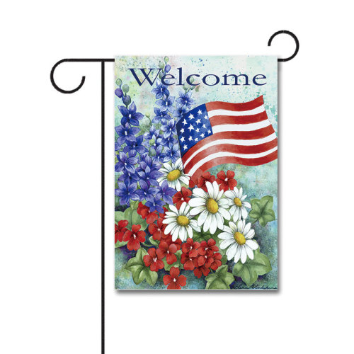 Patriotic Welcome 110g Knitted Polyester Double Sided Garden Flag Without Flagpole