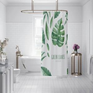 Hot sale custom design green leaf shower curtain with high quality