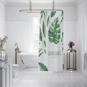Wholesale custom design bathroom green leaf shower curtain
