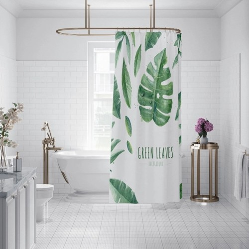 Hot sale custom design green leaf shower curtain with high quality