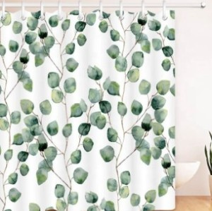 How selling wholesale custom design and size bathroom green leaf shower curtain