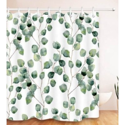 Custom design and size bathroom green leaf shower curtain with high quality