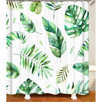 Competitive price custom design bathroom green leaf shower curtain with high quality