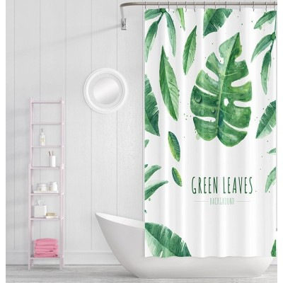 Factory price custom logo bathroom green leaf shower curtain