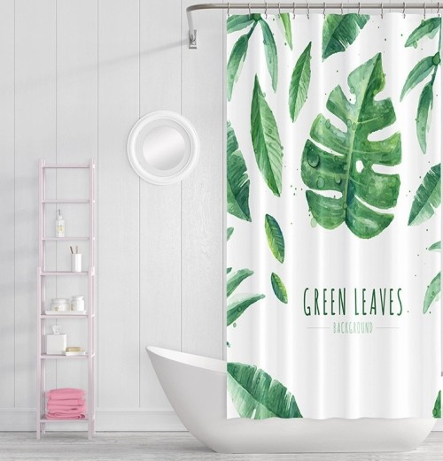 Factory price custom logo bathroom green leaf shower curtain