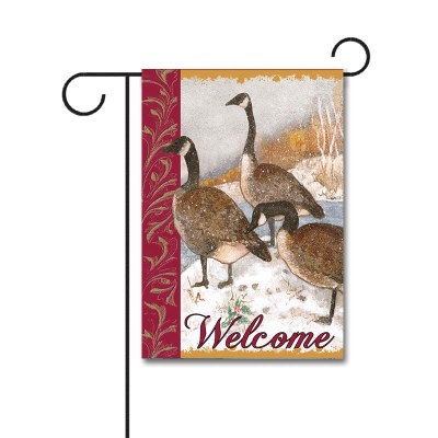 Welcome Geese 110g Knitted Polyester Double Sided Garden Flag Without Flagpole
