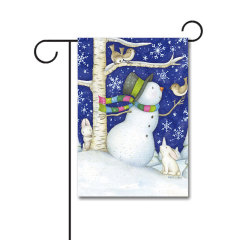 Critter Snowman 110g Knitted Polyester Double Sided Garden Flag Without Flagpole