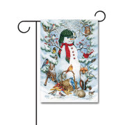 Woodland Snowman 110g Knitted Polyester Double Sided Garden Flag Without Flagpole