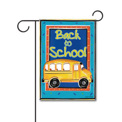 School Bus 110g Knitted Polyester Double Sided Garden Flag Without Flagpole