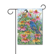 Chickadee and Indigo Bunting 110g Knitted Polyester Double Sided Garden Flag Without Flagpole