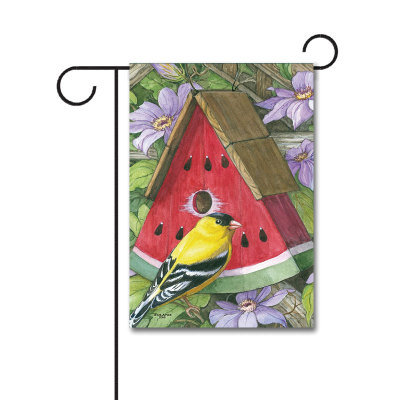 Watermelon Birdhouse 110g Knitted Polyester Double Sided Garden Flag Without Flagpole