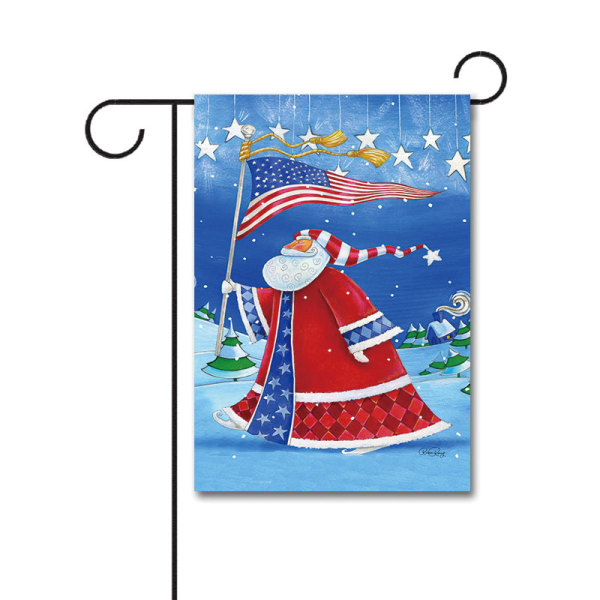 Patriotic Santa 110g Knitted Polyester Double Sided Garden Flag Without Flagpole