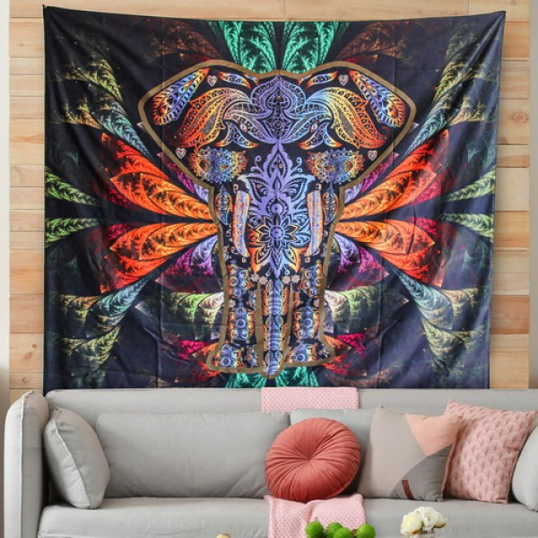 Bohemian Elephant Tapestry - Mandala Boho Vintage Watercolor Yoga Tapestries Wall Hanging Indian Art Home Decoration Bedroom Decor Living Room for drop shipping