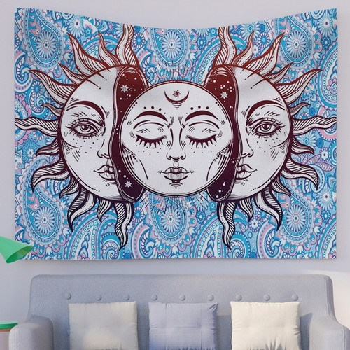 Blue Sun and Moon Tapestry Burning Sun with Star Tapestry Psychedelic Tapestry Blue and Gold Mystic Tapestry Wall Hanging for drop shipping