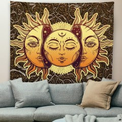 Sun and Moon Tapestry Burning Sun with Star Tapestry Psychedelic Tapestry Blue and Gold Mystic Tapestry Wall Hanging for drop shipping