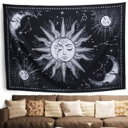 Wall Tapestry Black and White Tapestry Wall Hanging Sun and Moon Tapestry for Bedroom Mystic Wall Decor for Bedroom Aesthetic Wall Art for drop shipping