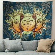 Sinonarui BLEUM CADE Psychedelic Tapestry Indian Moon and Sun with Many Fractal Faces Tapestry Celestial Energy Mystic Tapestries Wall Hanging Tapestry for Bedroom Living Room Dorm