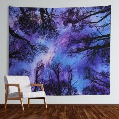 Sinonarui Forest Starry Tapestry Starry Sky Tapestry Moon and Stars Tapestry Galaxy Tapestry Wall Hanging Forest Tapestry Night Sky Tapestry Wall Tapestry for Dorm Living Room Bedroom