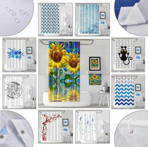 Sinonarui Abstract Psychedelic Square Pattern Fashion Shower Curtain Home Decor