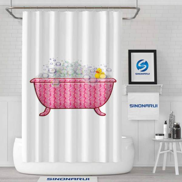 Sinonarui Cartoon Pink Fashion Shower Curtain For Girls