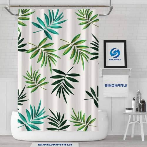 Sinonarui Rainforest Style Palm leaves Fashion Shower Curtain