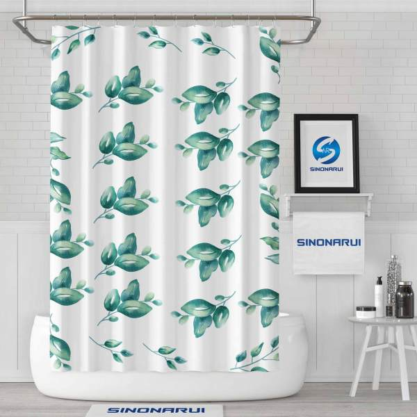 Sinonarui Green Leaves Fashion Shower Curtain Home Decor