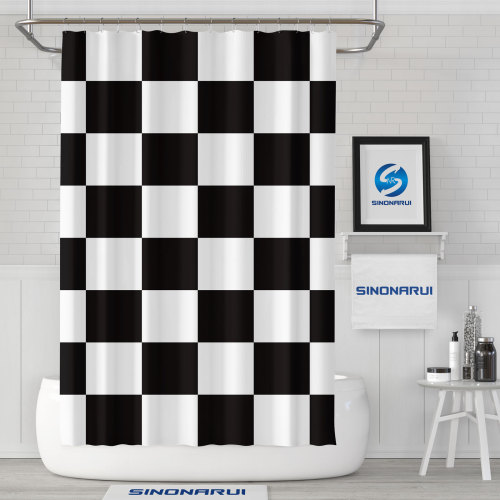 Sinonarui Black and white grid Fashion Shower Curtain Home Decor