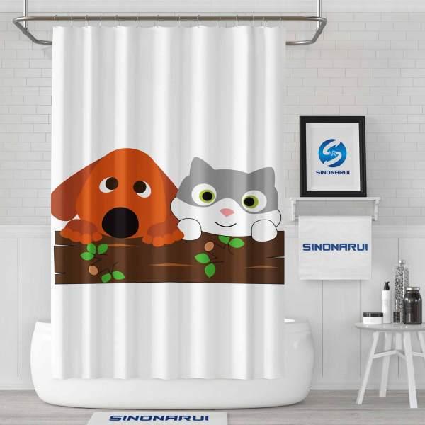 Sinonarui Cute Animals Cat and Dog Fashion Shower Curtain Home Decor