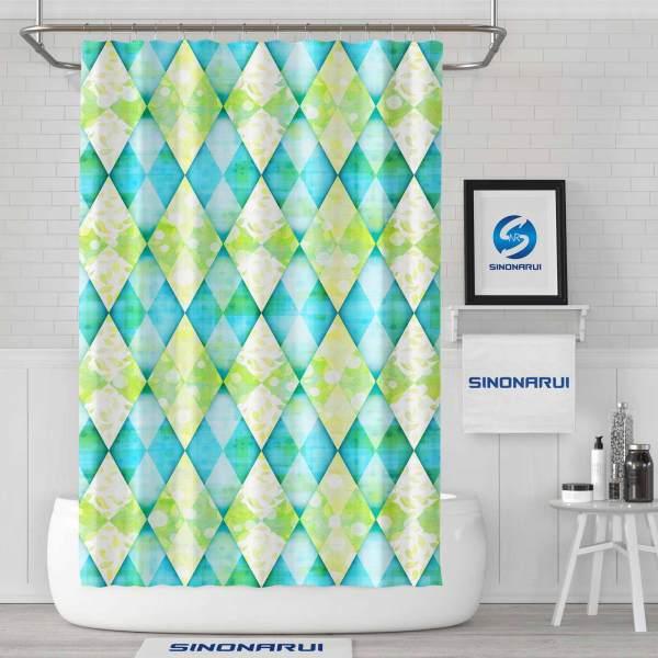 Sinonarui Diamond Shape Pattern Fashion Shower Curtain Home Decor