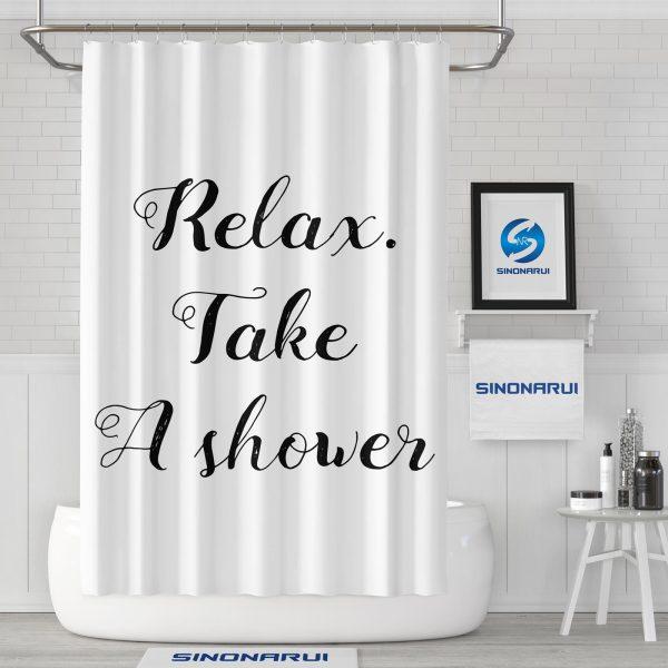 Sinonarui Funny Painting Relax Take a Shower Fashion Shower Curtain Home Decor