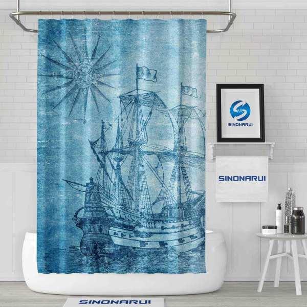 Sinonarui Sea Ship Pattern Retro Style Shower Fashion Shower Curtain Home Decor
