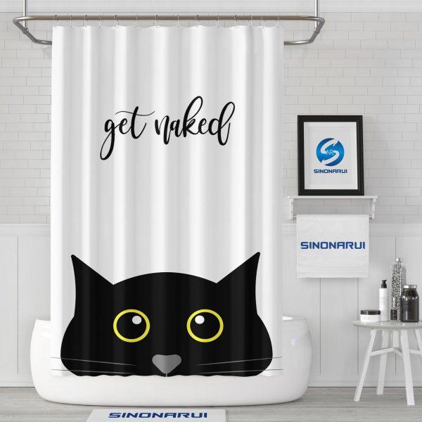 Sinonarui Cute Cat Pattern Mordern Shower Fashion Shower Curtain Home Decor