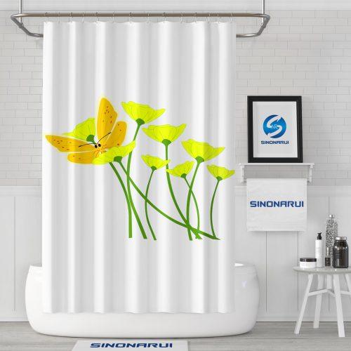 Sinonarui Fresh Flower Butterfly Pattern Mordern Shower Fashion Shower Curtain Home Decor