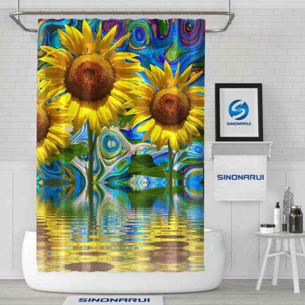 Sinonarui Sunflower Mordern Shower Fashion Shower Curtain Home Decor