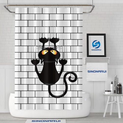 Sinonarui Creative Design Cute Cat Mordern Shower Fashion Shower Curtain Home Decor