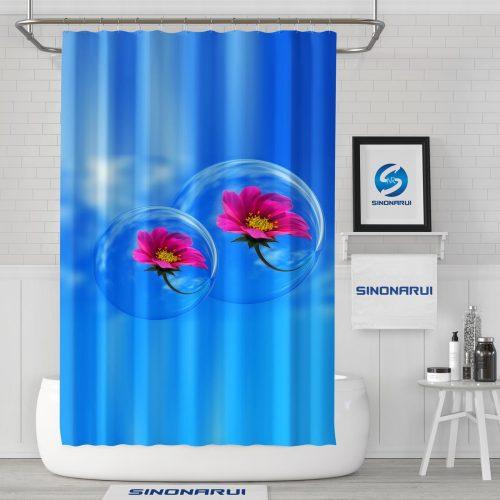 Sinonarui Flower Mordern Shower Fashion Shower Curtain Home Decor