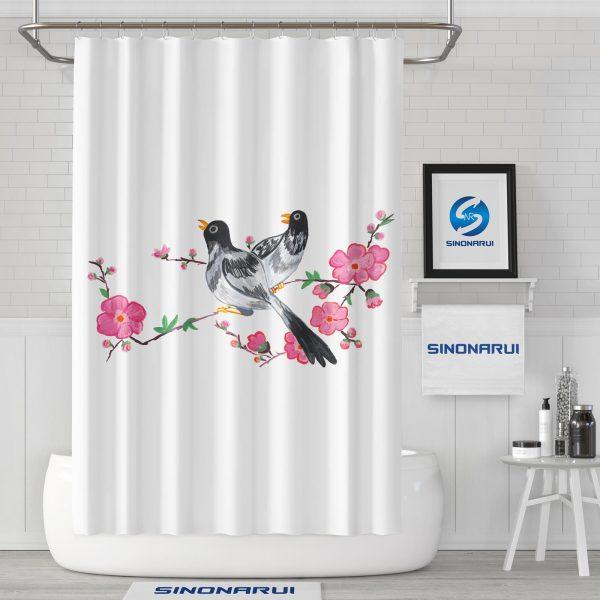 Sinonarui Lovely Birds Flowers Shower Fashion Shower Curtain Home Decor