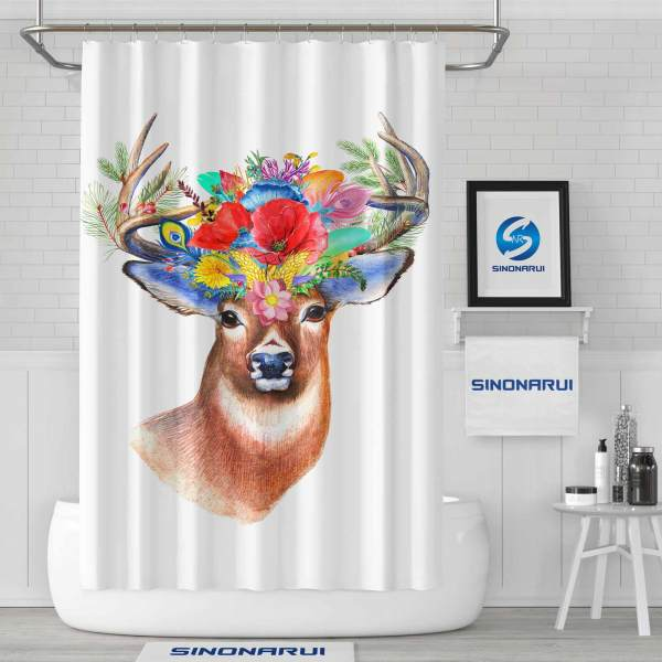 Sinonarui Beautiful Elk Flowers Shower Fashion Shower Curtain Home Decor