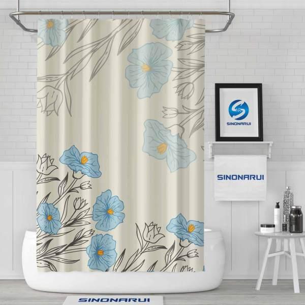 Sinonarui Flower Pattern Shower Fashion Shower Curtain Home Decor