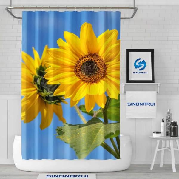 Sinonarui Sunflower Fresh style Shower Fashion Shower Curtain Home Decor