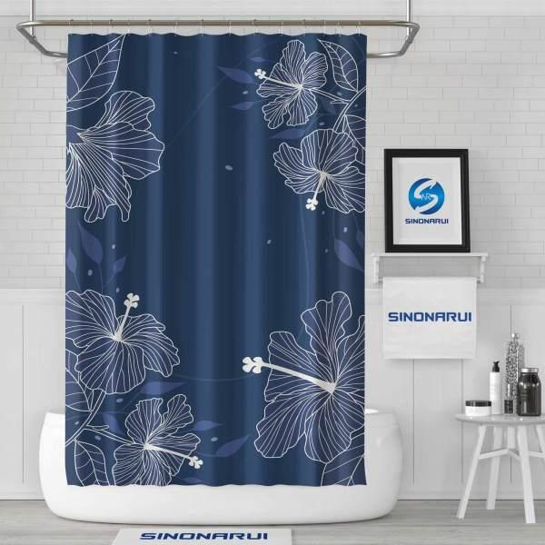 Sinonarui Dark Blue Shower Fashion Shower Curtain Home Decor