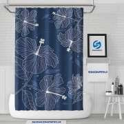 Sinonarui Dark Blue Flowers Shower Fashion Shower Curtain Home Decor