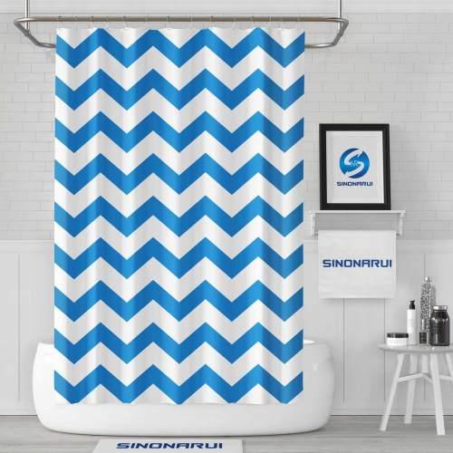 Sinonarui Blue Wave Pattern Shower Fashion Shower Curtain Home Decor