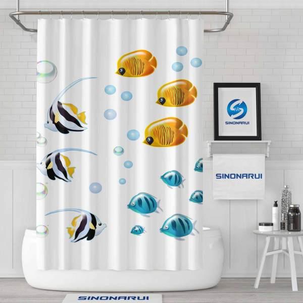 Sinonarui Colorful Fishes Shower Fashion Shower Curtain Home Decor
