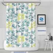 Sinonarui Leaves Pattern Shower Fashion Shower Curtain Pink Home Decor