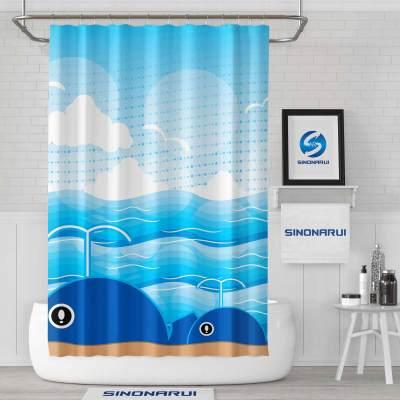 Sinonarui Whales Light Color Shower Fashion Shower Curtain Pink Home Decor