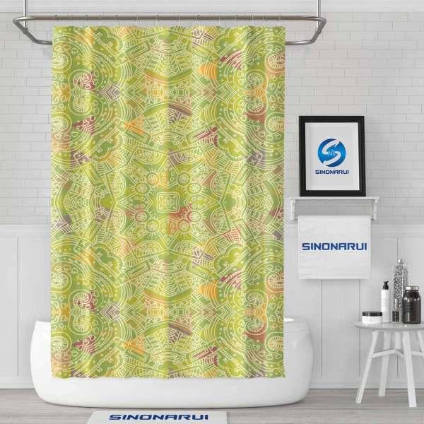 Sinonarui Pattern Light Color Shower Fashion Shower Curtain Pink Home Decor