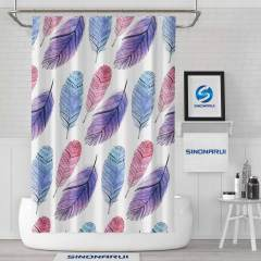 Sinonarui Indian Style Feather Pattern Light Color Shower Fashion Shower Curtain Pink Home Decor